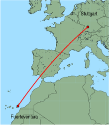 Map of route from Stuttgart to Fuerteventura