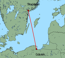 Map of route from Gdansk to Stockholm&nbsp;(Skavsta)