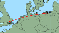 Map of route from Gdansk to London(Stansted)