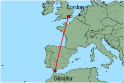 Map of route from London (Gatwick) to Gibraltar