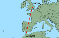 Map of route from London (Luton) to Gibraltar