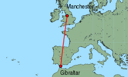 Map of route from Manchester to Gibraltar