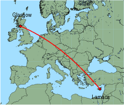 Map of route from Larnaca to Glasgow (International)