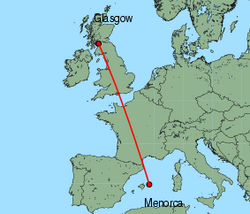 Map of route from Glasgow&nbsp;(International) to Mahon