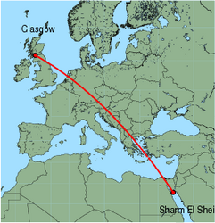 Map of route from Glasgow (International) to Sharm El Sheikh