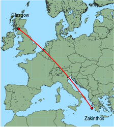 Map of route from Zakinthos to Glasgow (International)