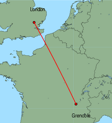 Map of route from Grenoble to London&nbsp;(Stansted)