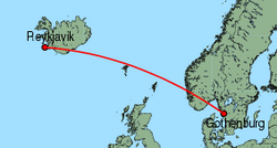 Map of route from Gothenburg (Landvetter) to Reykjavik