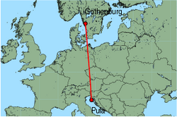 Map of route from Gothenburg(Landvetter) to Pula