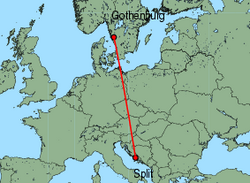 Map of route from Gothenburg(Landvetter) to Split