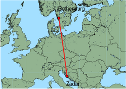 Map of route from Gothenburg (Landvetter) to Zadar