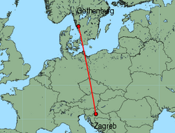 Map of route from Gothenburg(Landvetter) to Zagreb