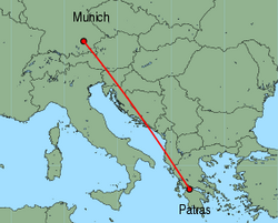 Map of route from Munich to Patras