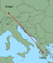 Map of route from Stuttgart to Patras