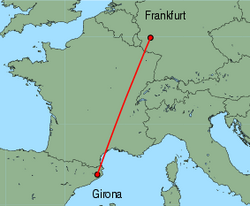 Map of route from Girona to Frankfurt (Hahn)