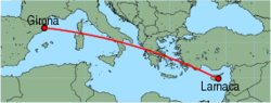Map of route from Girona to Larnaca