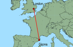 Map of route from Girona to London (Stansted)