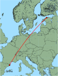 Map of route from Girona to Tallinn