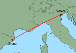 Map of route from Girona to Venice (Marco Polo)