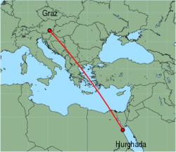 Map of route from Hurghada to Graz