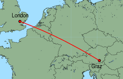 Map of route from London (Stansted) to Graz