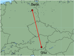 Map of route from Graz to Berlin(Tegel)