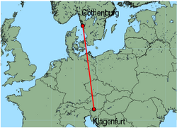 Map of route from Gothenburg (Saeve) to Klagenfurt