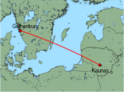 Map of route from Kaunas to Gothenburg(Saeve)