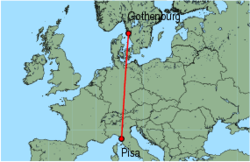 Map of route from Pisa to Gothenburg (Saeve)