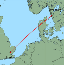 Map of route from London (Stansted) to Gothenburg (Saeve)