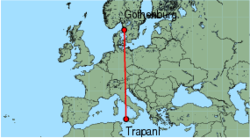 Map of route from Trapani to Gothenburg (Saeve)
