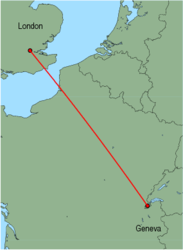 Map of route from London (City) to Geneva