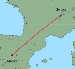 Map of route from Madrid to Geneva