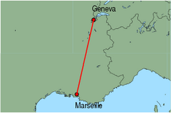 Map of route from Marseille to Geneva