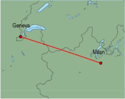 Map of route from Milan (Malpensa) to Geneva