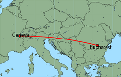 Map of route from Bucharest (Otopeni) to Geneva