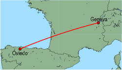 Map of route from Oviedo to Geneva