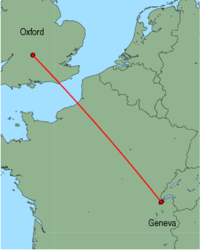 Map of route from Oxford to Geneva