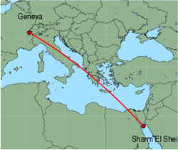 Map of route from Geneva to Sharm El Sheikh