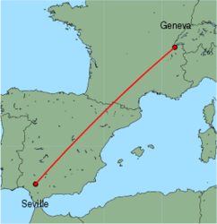 Map of route from Geneva to Seville