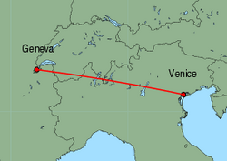 Map of route from Geneva to Venice (Marco Polo)