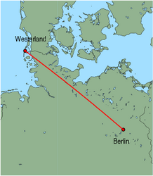 Map of route from Westerland to Berlin(Tegel)