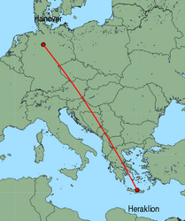 Map of route from Hanover to Heraklion