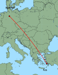 Map of route from Hanover to Kos