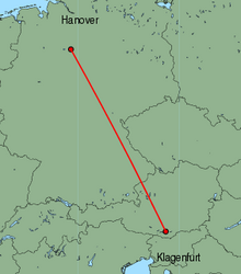Map of route from Klagenfurt to Hanover