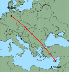 Map of route from Larnaca to Hanover