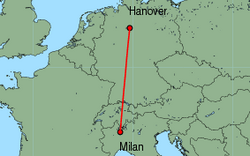 Map of route from Milan(Malpensa) to Hanover