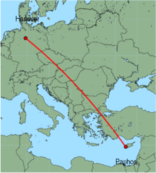 Map of route from Paphos to Hanover