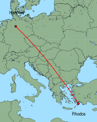Map of route from Hanover to Rhodos
