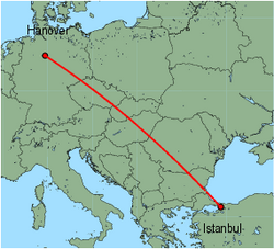 Map of route from Hanover to Istanbul (Sabiha)